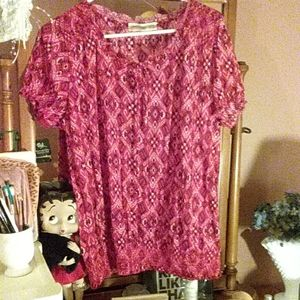 "Pretty red blouse ""Faded Glory"" large 12/14"
